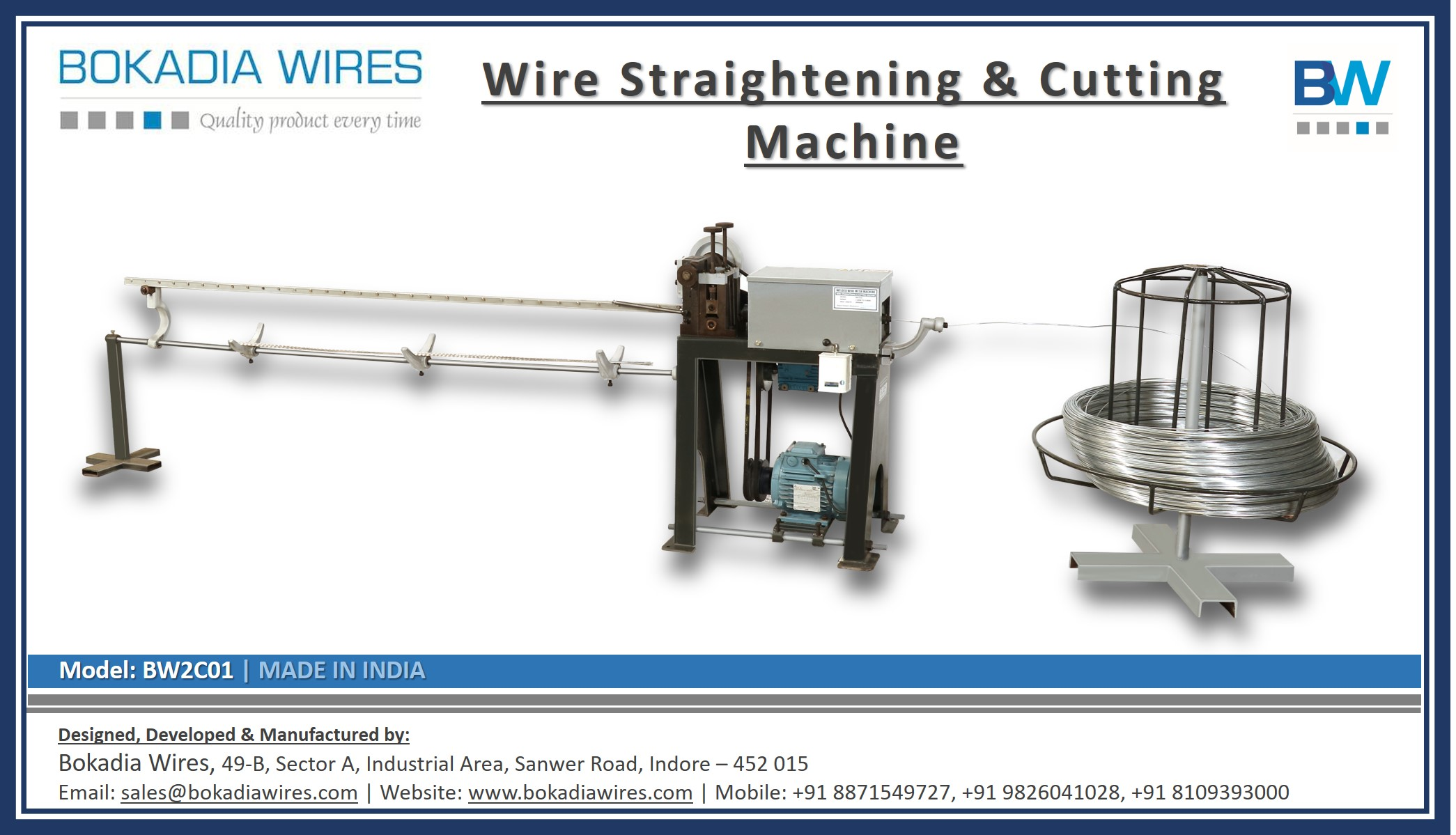 Wire Straightening & Cutting Machine (Model: BW2C01)